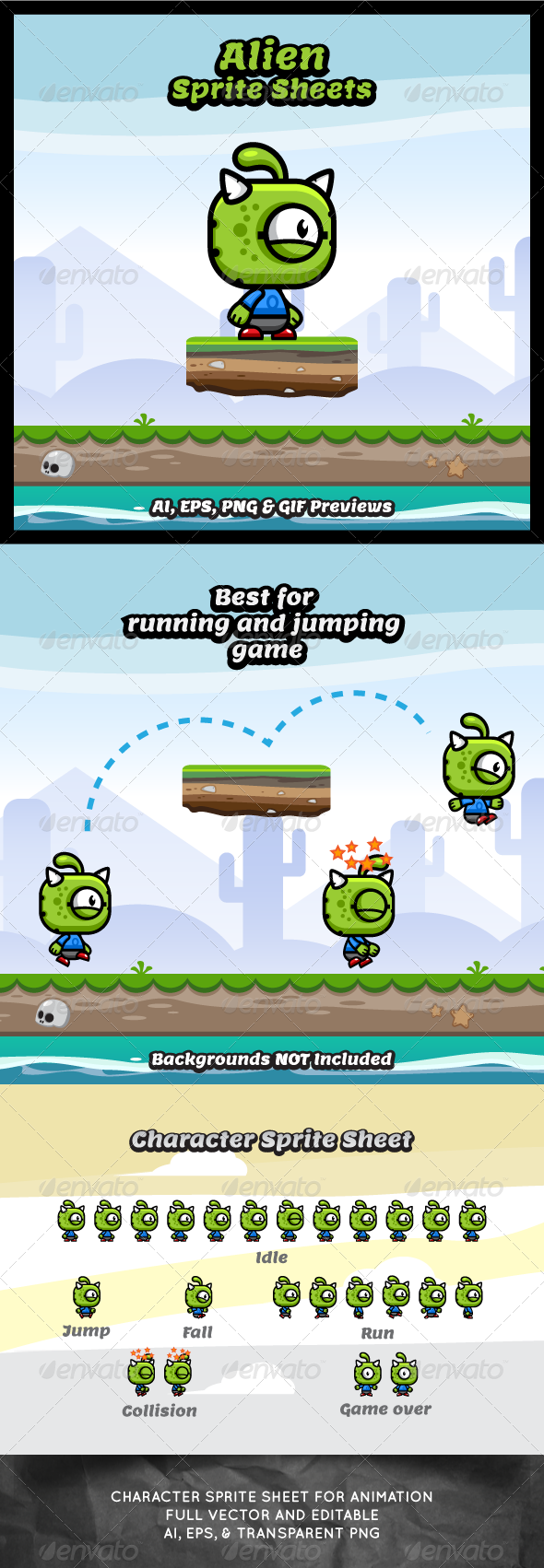 GraphicRiver Running & Jumping Alien Sprite Sheets 8527308