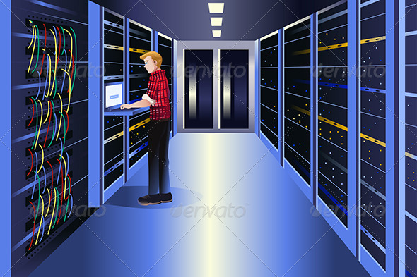 GraphicRiver Man Working in a Data Center 8527841