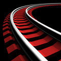 Single curved railroad track - PhotoDune Item for Sale