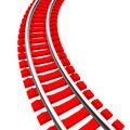 Single curved railroad track isolated - PhotoDune Item for Sale