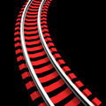 Single curved railroad track - PhotoDune Item for Sale