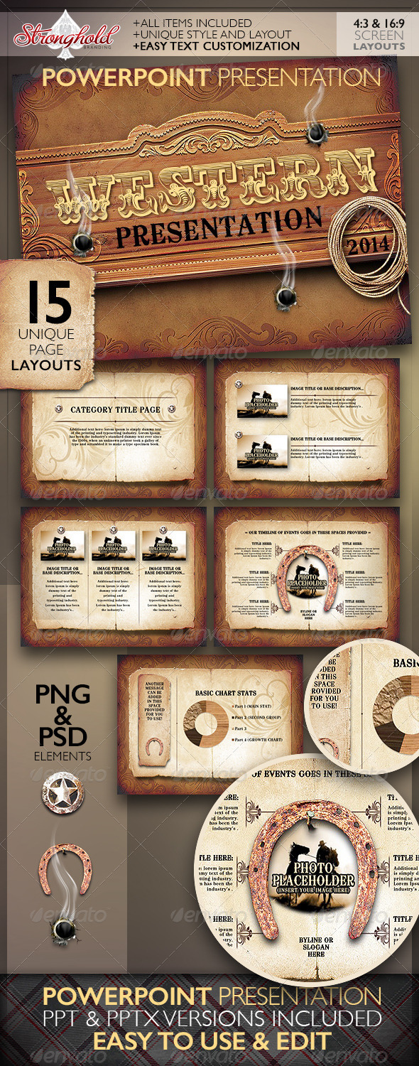 GraphicRiver Western Style Powerpoint Presentation Template 8513989
