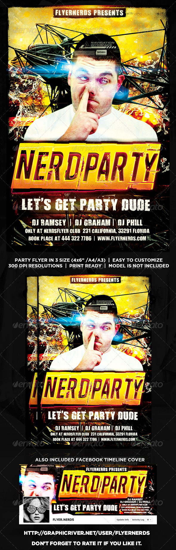 GraphicRiver Nerd Party Flyer 8529686