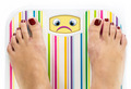 Feet on bathroom scale with sad cute face on dial - PhotoDune Item for Sale