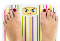 Feet on bathroom scale with angry cute face on dial - PhotoDune Item for Sale