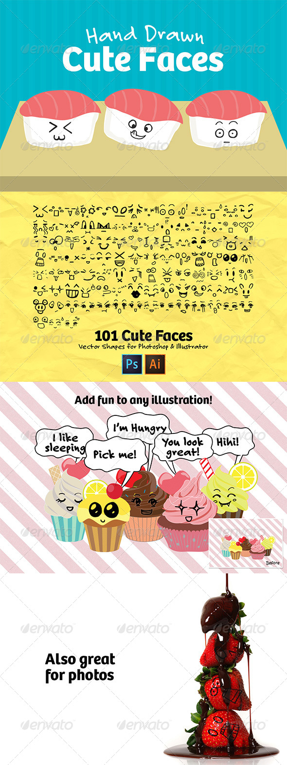 GraphicRiver 101 Hand Drawn Cute Faces 8530192