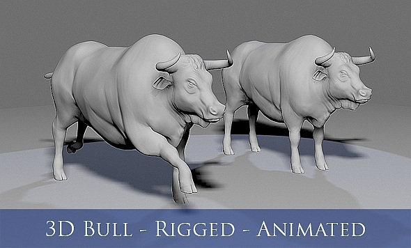 3D Bull - Rigged - Animated - 3DOcean Item for Sale