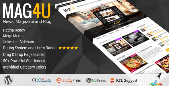 Mag4u - Responsive WordPress News, Magazine, Blog - News / Editorial Blog / Magazine