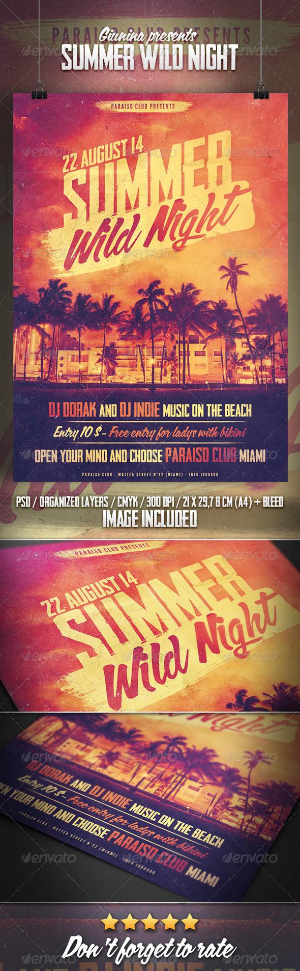 GraphicRiver Summer Wild Night Flyer Poster 8531406