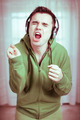 Crazy man with headphones singing - PhotoDune Item for Sale