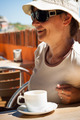 Happy woman with cup of coffee - PhotoDune Item for Sale