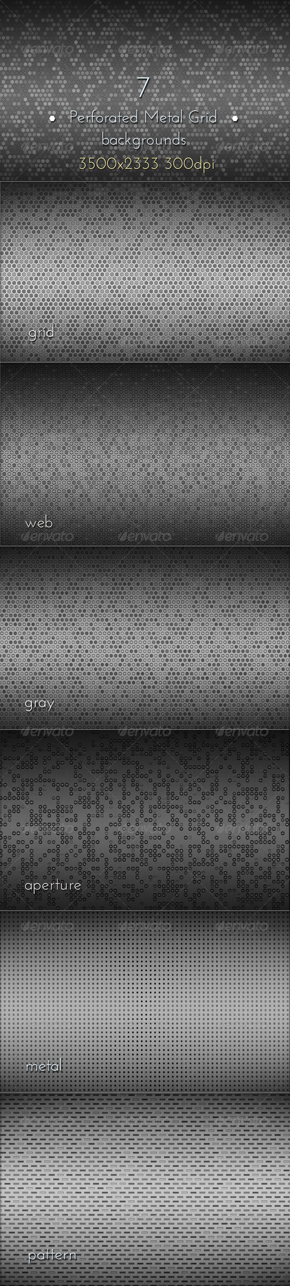 GraphicRiver Perforated Metal Grid Backgrounds 8531727
