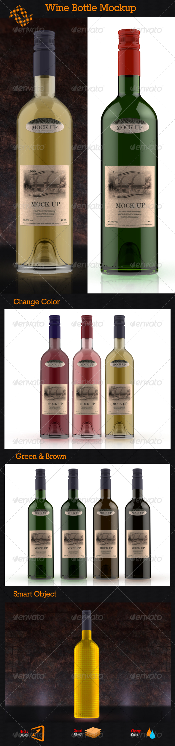 GraphicRiver Wine Bottle Mockup 8531757