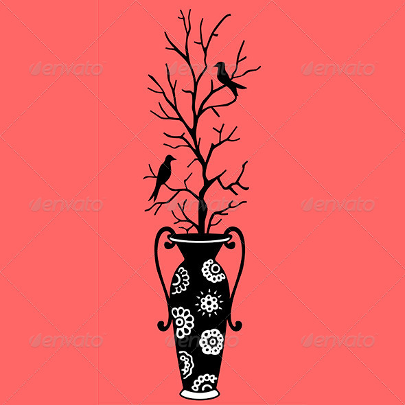 GraphicRiver Vase and Birds 8531945