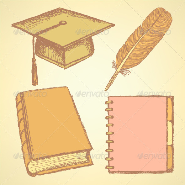 GraphicRiver Sketch Graduation Cap Feather Notebook and Book 8531955
