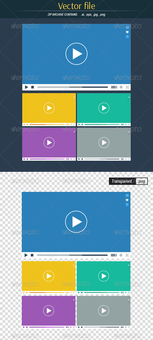 GraphicRiver Flat Video Players 8532043