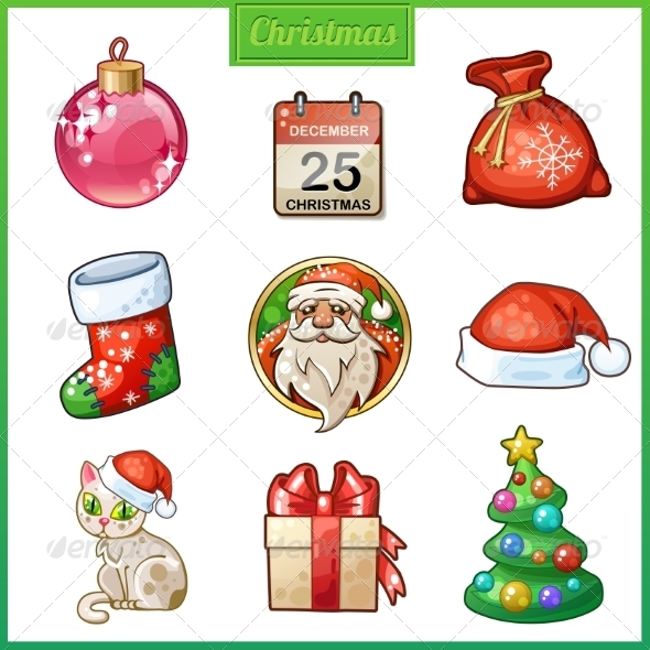 GraphicRiver Candy Cartoon Icons Set for Christmas and New Year 8532347