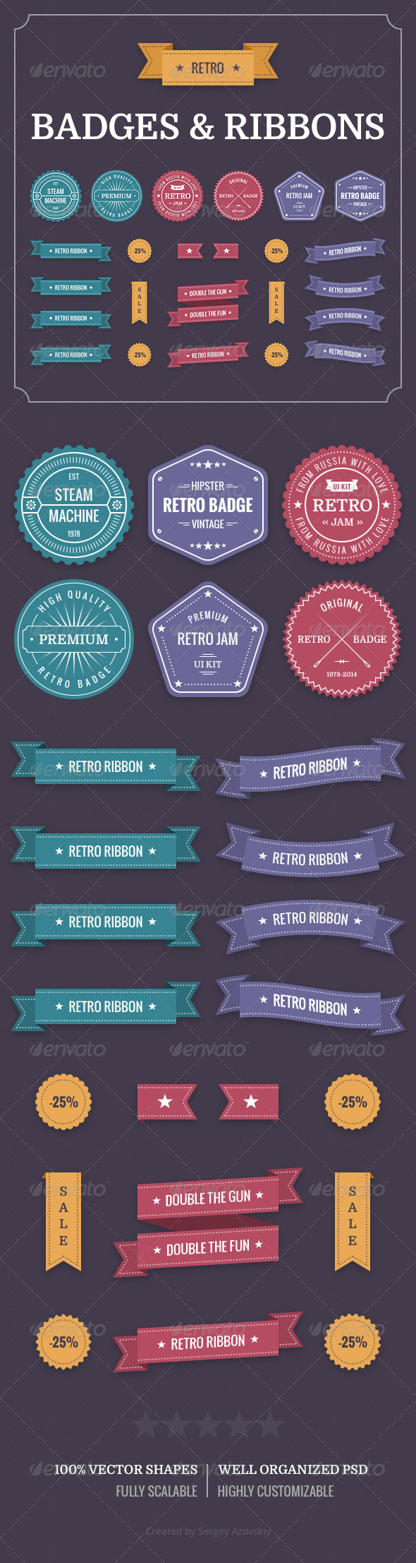 GraphicRiver Retro Badges & Ribbons 8530663