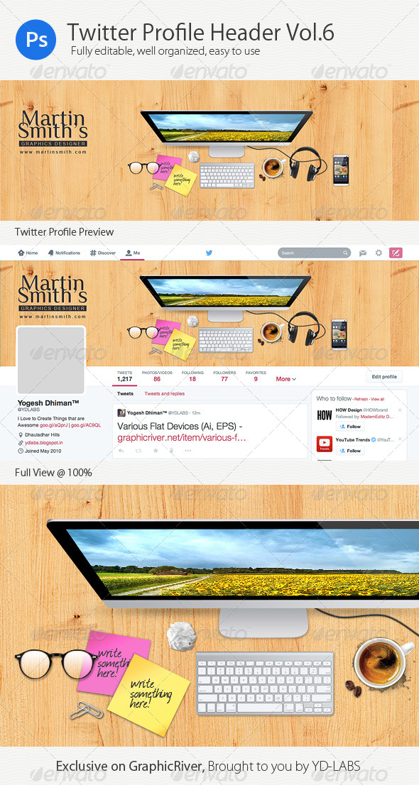 GraphicRiver Twitter Profile Header V6 8532531