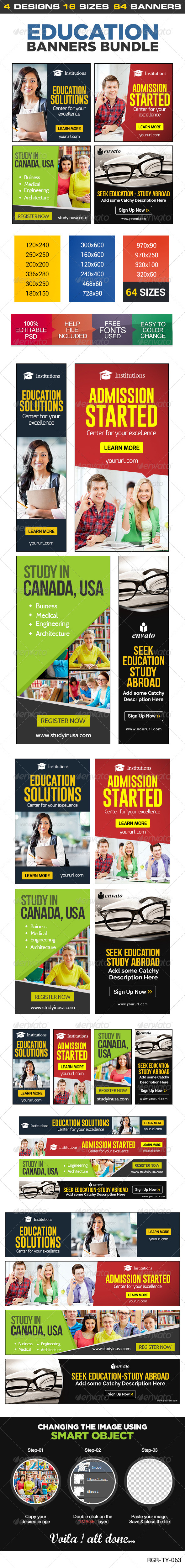 GraphicRiver Education Banner Set Bundle 4 sets 8532572