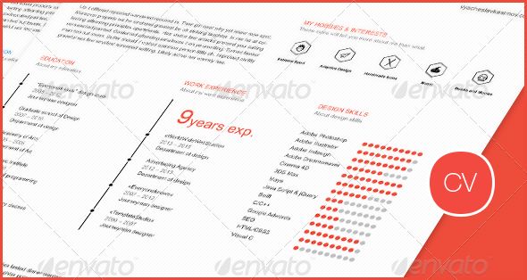GraphicRiver Clean Flat Resume CV 8526076