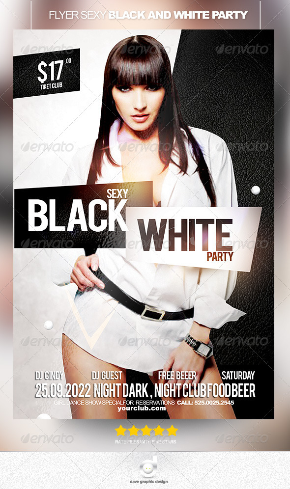 Flyer Sexy Black and White Party