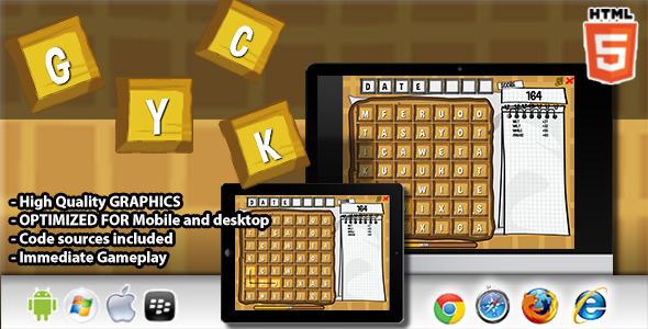 CodeCanyon Waffle HTML5 Word Game 8533111