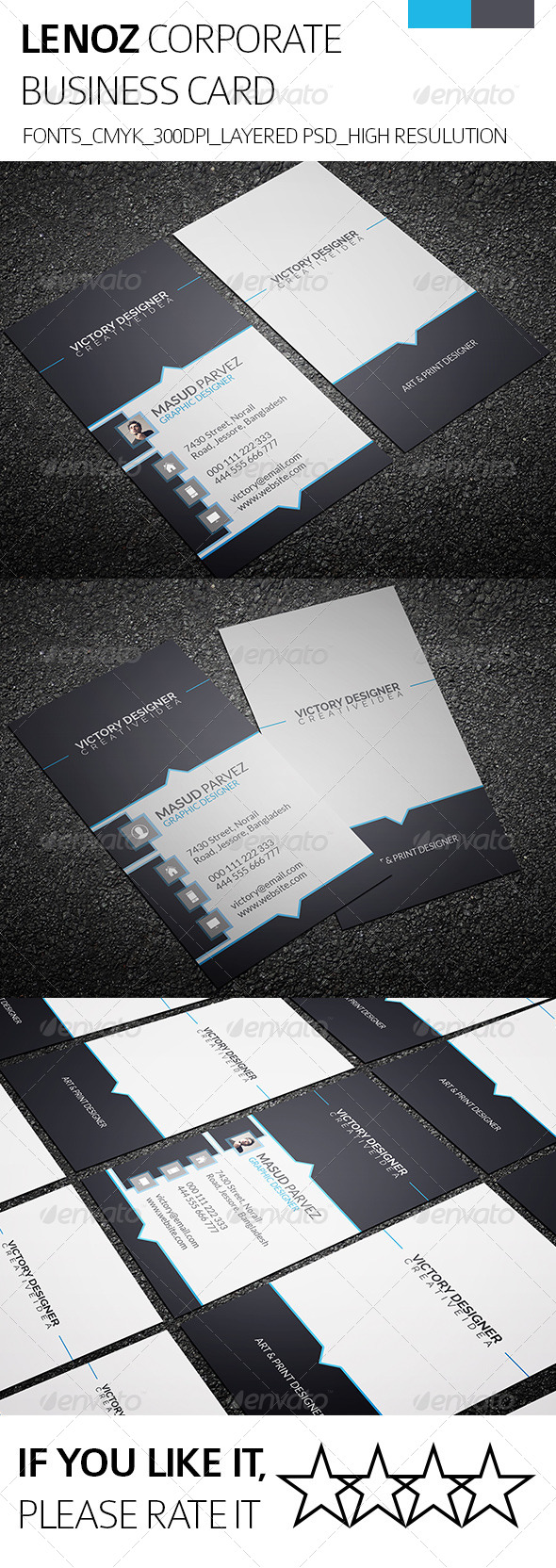 GraphicRiver Lenoz & Corporate Business Card 8533119