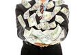 businessman earns us dollar with money rain with white background - PhotoDune Item for Sale
