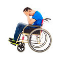 upset  and handicapped man sitting on a wheelchair with white background - PhotoDune Item for Sale