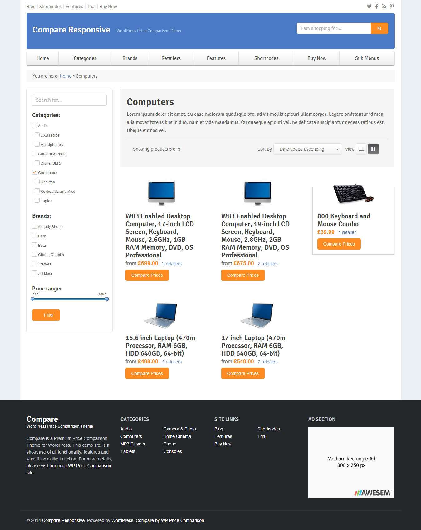 Compare Price Comparison Theme for WordPress by awesem – Comparison Grid Template