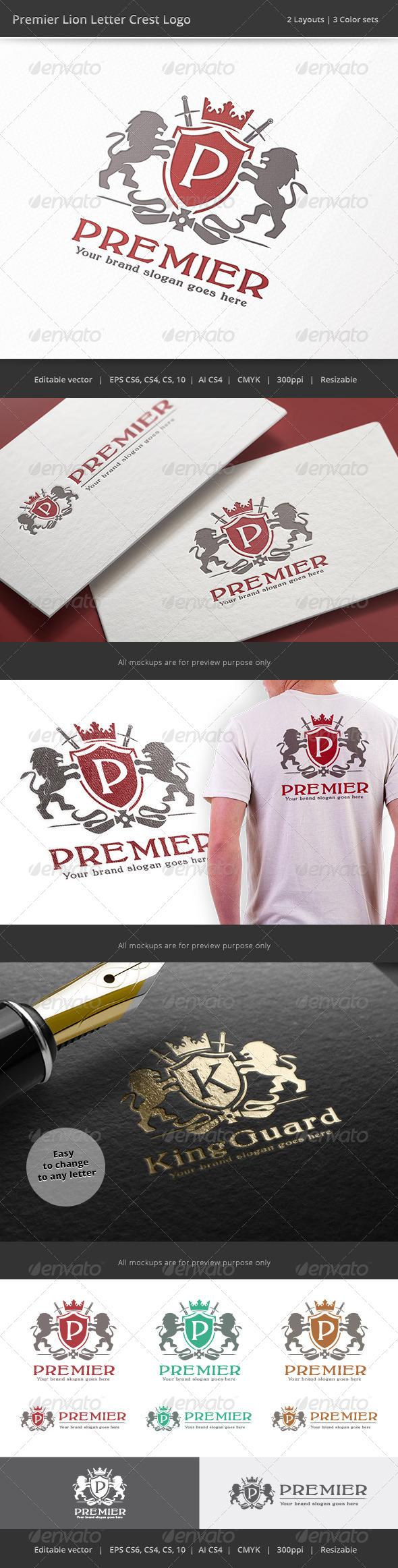 GraphicRiver Premier Lion Letter Crest Logo 8533551