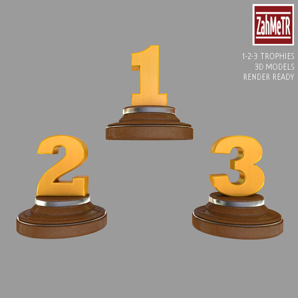 Trophies 1 - 2 - 3 Numbers 3d Model - 3DOcean Item for Sale