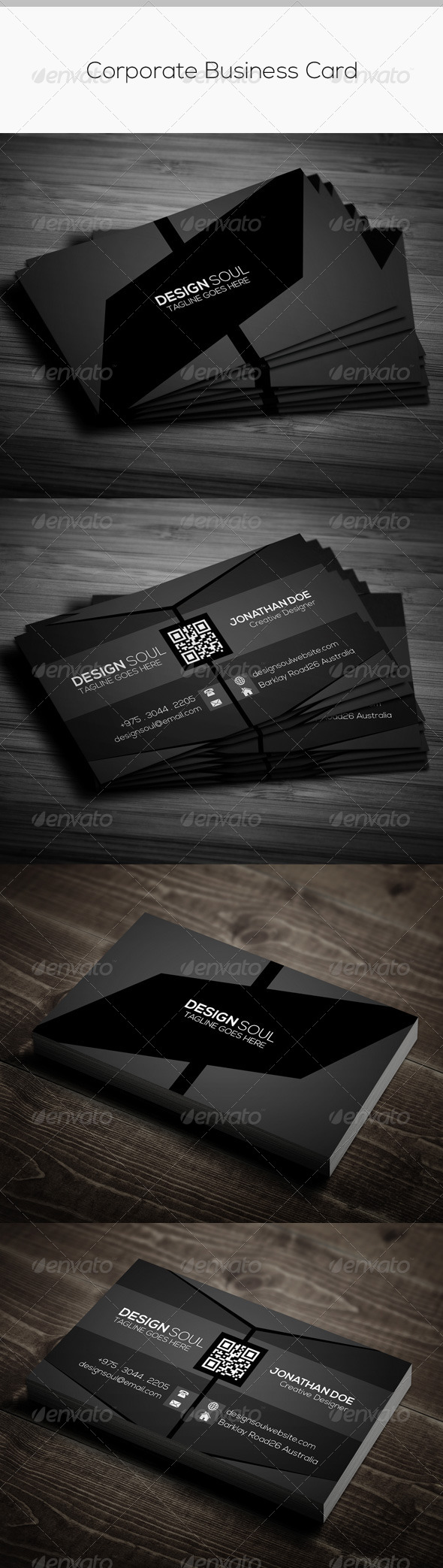 GraphicRiver Dark Stylish Corporate Business Card 8533754