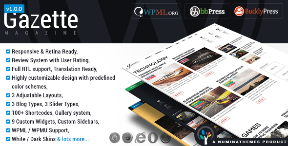 ThemeForest Gazette Magazine WordPress Community Theme 8533755