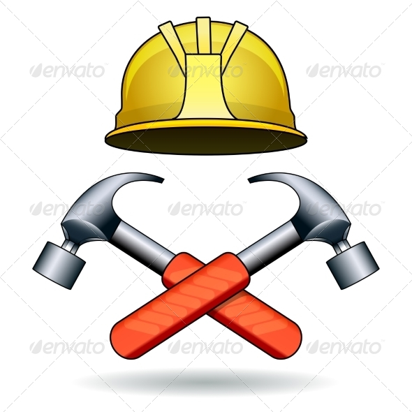 GraphicRiver Working Tools with Two Hammers and Helmet 8533991