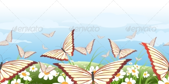 GraphicRiver Horizontal Seamless Butterflies Pattern 8534002