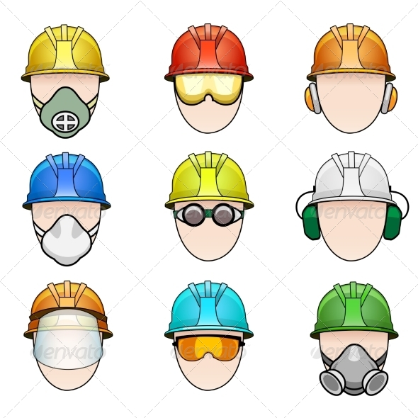 GraphicRiver Set of Worker Icons in Helmet with Protective Gear 8534004