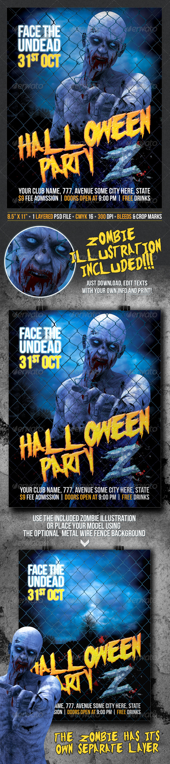 GraphicRiver Halloween Party Z Zombie Themed Poster Flyer 8525428