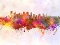 Calgary skyline in watercolor background - PhotoDune Item for Sale
