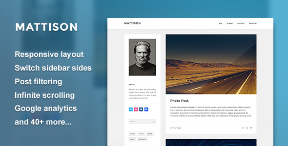 Mattison - Content Focus Tumblr Theme