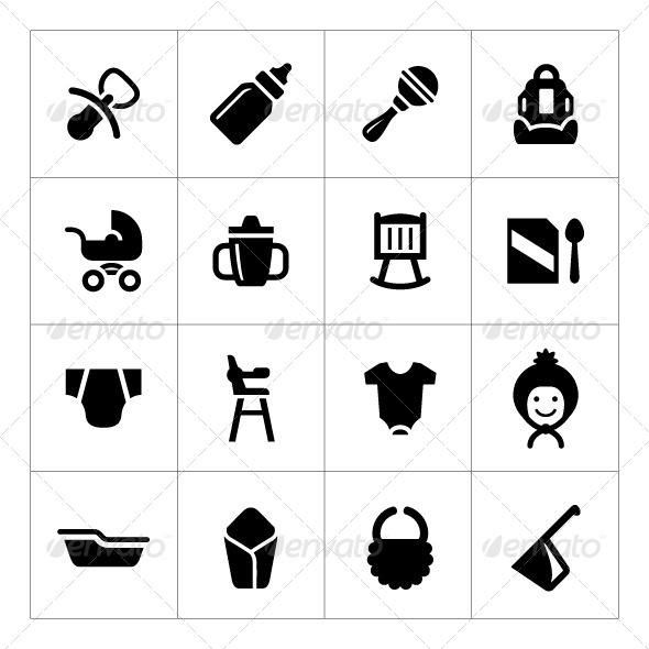 Set Icons of Newborn Baby