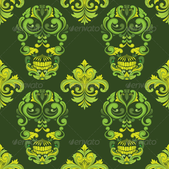 GraphicRiver Classic Skull Ornamental Pattern 8535130