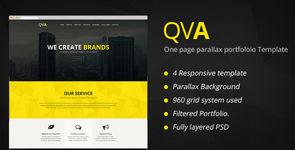 ThemeForest QVA One Page Multi-purpose WordPress Theme 8098976