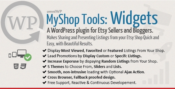 A WordPress plugin for Etsy Sellers and Bloggers. Its purpose is to make sharing and presenting Listings from your Etsy shop (or any other Etsy shop) a Quick an