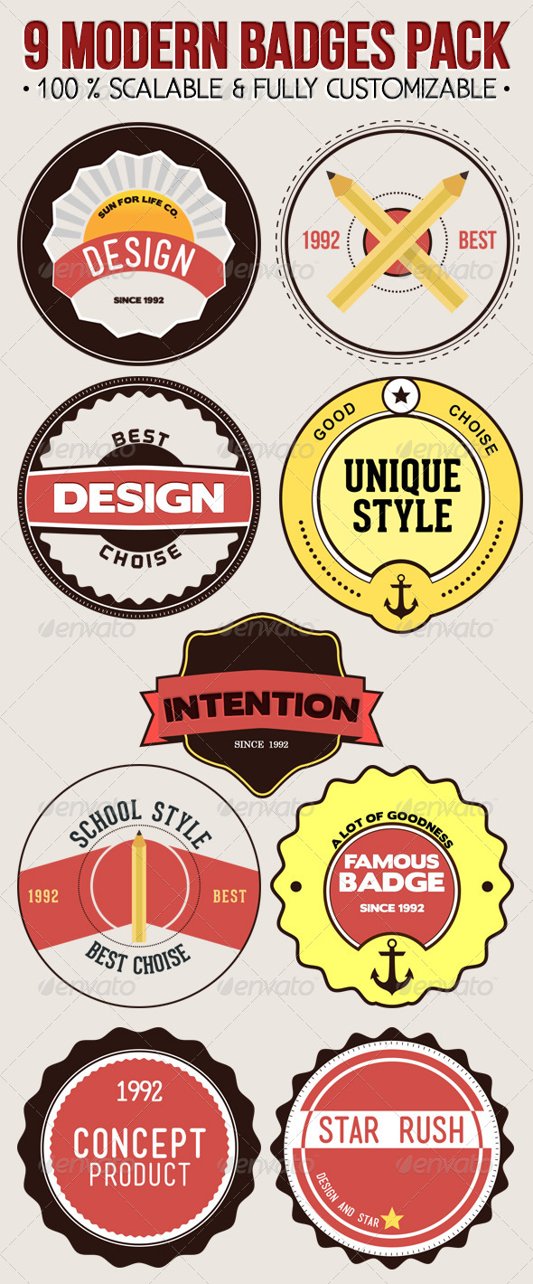 GraphicRiver 9 Modern Badges Pack 8496638