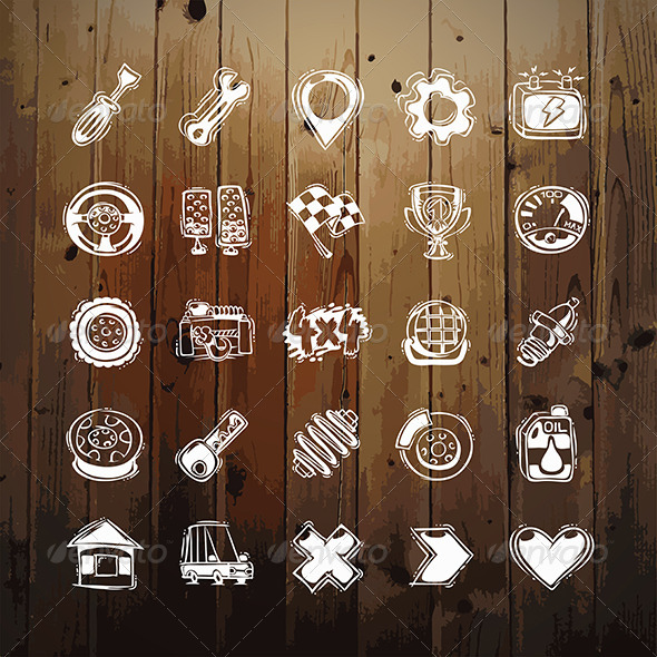 GraphicRiver Icons Set of Car Symbols on Wood Texture 8534866