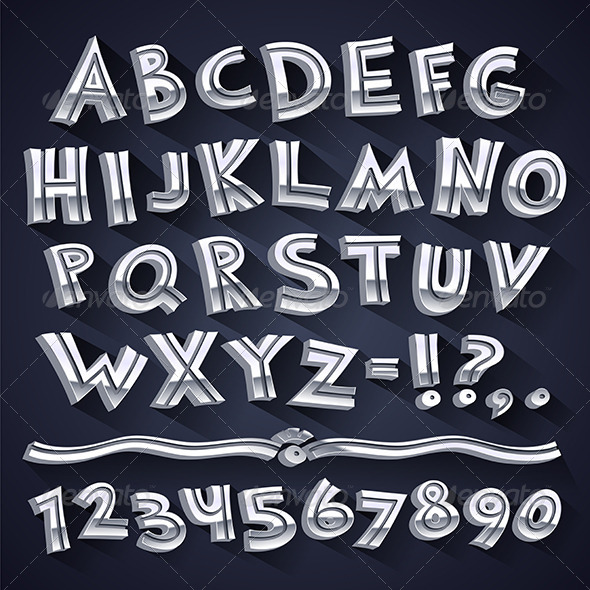 Silver Retro 3D Font with Strips