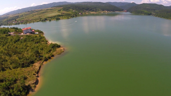 Aerial View Of A Mountain Lake 3