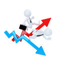 Business man run over graph arrow. Rise and fall concept. Isolated. Contains clipping path - PhotoDune Item for Sale